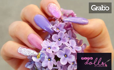 Маникюр с гел лак, плюс 2 декорации от Pink Dolls Beauty Studio