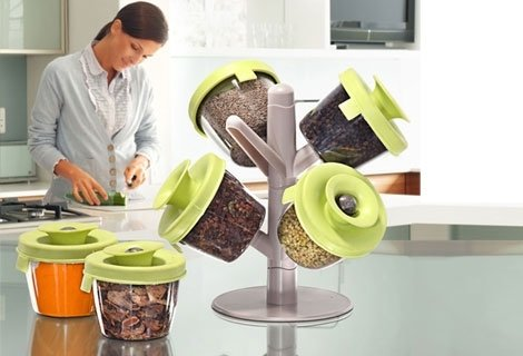 Spice Fine Life Pop-Up 6 Container Spice Rack Сет за подправки