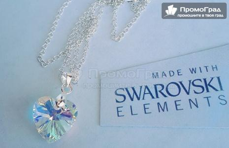 Обеци Swarovski Heart white