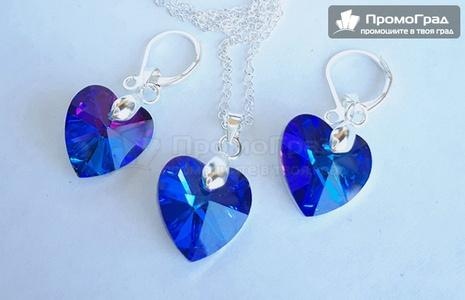 Обеци Swarovski Blue Heart